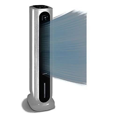 Klarstein Polar Tower Smart - Climatizador de aire 4 en 1, Caudal aire hasta 3.306 m³/h, Potencia 85 W, Temporizador, 4 velocidades, Depósito agua 7 L, Pantalla digital, Control táctil, Gris