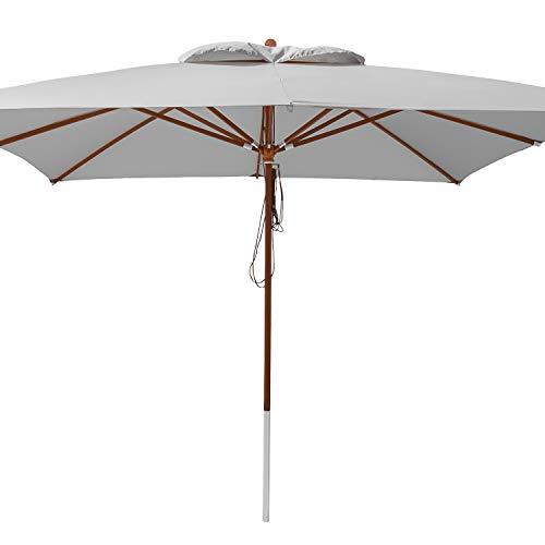 anndora® Sonnenschirm 4 x 4 m quadratisch Holz Gestänge - Silber Grau
