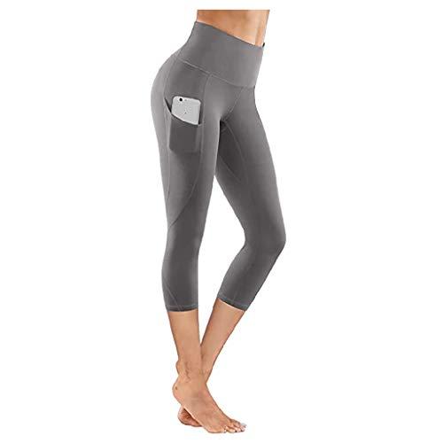 Women's Yoga Pants,Tight Elastic Quick Dry Solid Color Pocket Capris Seamless Cropped Yoga Pants (X-Samll, Gray)
