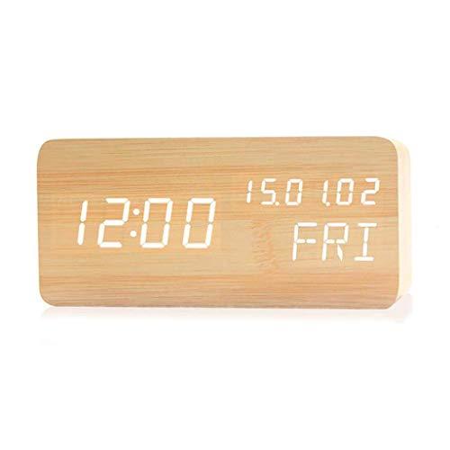 ZBNZ Madera de alarma luminosa del reloj reloj de escritorio de alarma de reloj carga seca higrómetro Mini Hogar Pequeño Reloj Reloj electrónico (Color : A)