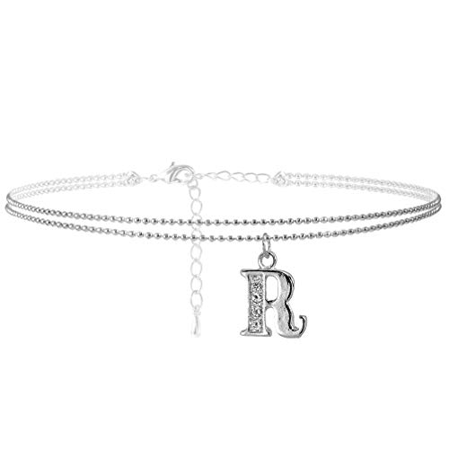 SpinningDaisy Double Line Rhinestone Crystal Initial Anklet -Perfect for Summer - (R-Silver)