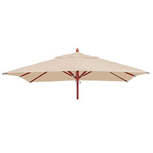 Mendler Bezug für Gastronomie Holz-Sonnenschirm HWC-C57, Sonnenschirmbezug Ersatzbezug, eckig 3x3m Polyester 3kg - Creme