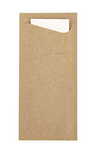Prime Guest Bestecktasche Prime Fit 85 x 190 mm   mit 2-lagiger Tissue-Serviette in Weiß   ideal für Gastronomie und Feiern   500 Stück (Naturbraun)