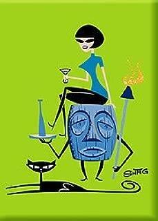 Artist SHAG (Josh Agle) Girl On Tiki Fridge Magnet