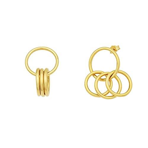 Pendientes de oro amarillo de 14 quilates con eslabón circular, joyería de alto pulido para mujeres