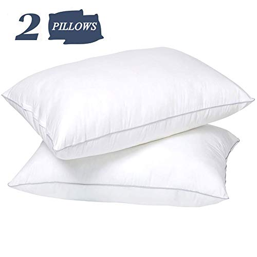 """NEKOCAT Bed Pillows for Sleeping 2 Pack 20""""x 26"""" 1000g/Pack Cooling Soft 100% Cotton Cover Adjustable Down Alternative Standard Size Hypoallergenic Pillows for Side, Stomach and Back Sleepers"""