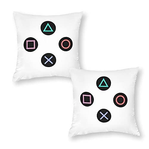 Funda de cojín suave con botones de mando de Playstation, funda de almohada cuadrada para el hogar, decoración de Navidad, 45 x 45 cm, con cremallera invisible, juego de 2 unidades