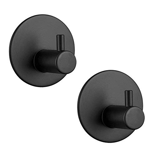 SouLips Adhesive Hooks, Self Adhesive Black Wall Mounted Hanger for Key Robe Coat Towel, Super Strong Heavy Duty Stainless Steel Hooks, No Drill No Screw, Waterproof,for Kitchen Bathroom Toilet,2 Pack
