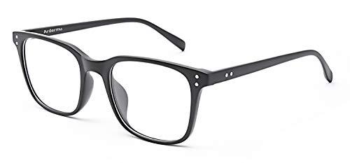 Ardermu Gafas Anti Luz Azul - Gafas de Computadora - Anti Fatiga Visual & Deslumbramiento & UV - Marco Cuadrado Negro/Gafas para Juegos - Unisex (+0.00 Dioptrías/Sin Aumento)