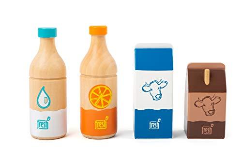 small foot company- Conjunto de Bebidas Fresh, de Madera, Juego de Roles,artículos y Accesorios para Todas Las Tiendas del Mercado,4 Piezas Juguetes, Multicolor (11438)