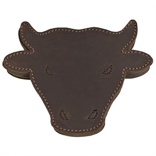 Hide & Drink, Durable Thick Leather Raging Bull / Animal Farm Cute Shaped Coasters (6-Pack) Handmade :: Bourbon Brown