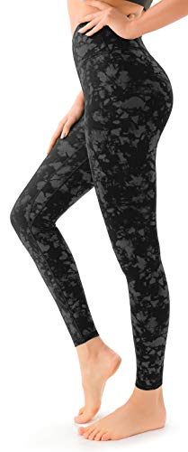 VOEONS Printed Yoga Pants for Women Tiedye Pattern Exercise Leggings with Pockets High Waisted Tummy Control Athletic Spandex Compression Leggings