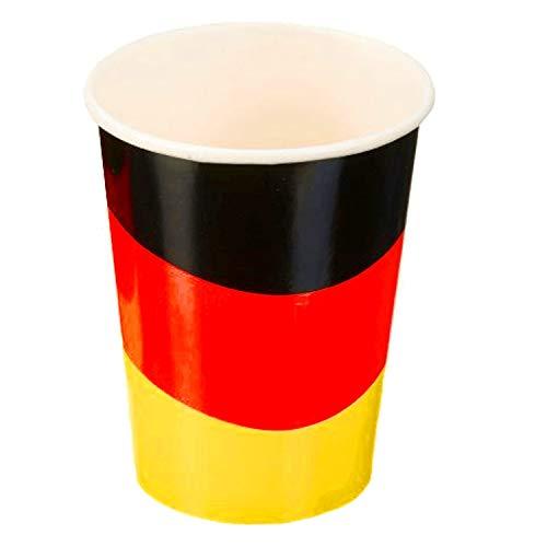 Party papieren bekers Duitsland 250ml, glazen, voetbal, feest, 8-pack (1 x 8 stuks)