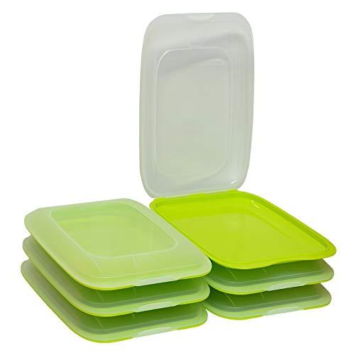 ENGELLAND - Hochwertige stapelbare Aufschnitt-Boxen, Frischhaltedose für Aufschnitt. Wurst Behälter. Perfekte Ordnung im Kühlschrank, 6 Stück Farbe Grün, Maße 25 x 17 x 3.3 cm