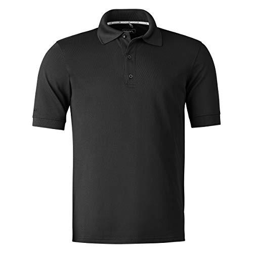 agon Herren Pique Polo-Shirt - Kurzarm-Hemd für Männer mit Knopfleiste, bügelfrei und atmungsaktiv, für Sport und Business, Made in EU Tiefschwarz 52/L