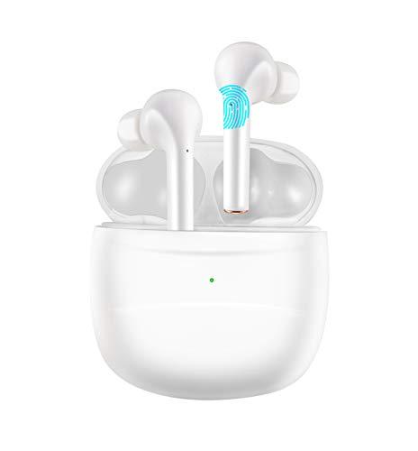 Latest Upgrade Bluetooth 5.2 True Wireless Earplug Bluetooth Wireless Earbuds Built in Microphone Waterproof Earplug 35 Hours Listening time TWS deep bass Sports, Earphone (White)