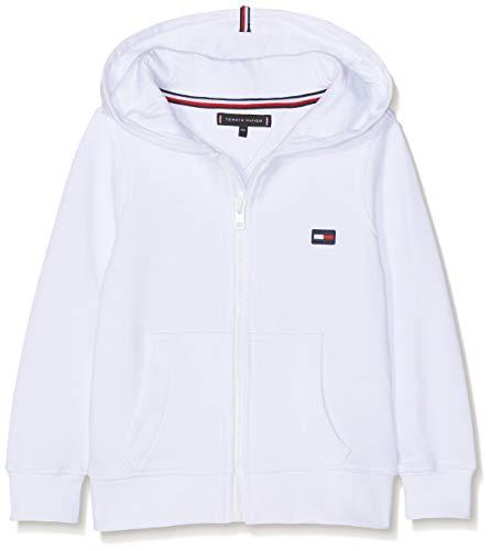 Tommy Hilfiger Jungen Hilfiger Logo Zip Hoodie Kapuzenpullover, Weiß (Bright White 123), 122 (Herstellergröße: 7)