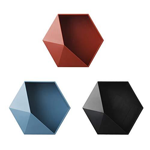 Takefuns 3 mensole da parete, mensole galleggianti, a forma esagonale, mensole appese a forma di esagono, rosso/blu/nero, decorazione per la casa e l'ufficio.