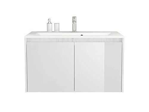Waschtischunterschrank 90 cm breit Taubenblau und Weiß Waschbeckenunterschrank Unterschrank Badmöbel-Set hängend Sieper Kabru (Weiß)