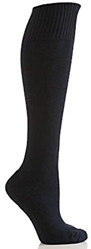 Damen 1 Paar SockShop von London Baumwolle Kniestrümpfe mit Kissen Sole In 5 Farben - 4-7 Ladies - Rich-Navy