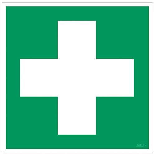 Erste Hilfe Aufkleber Sticker Zeichen mit UV-Schutz, Outdoor geeignet, Verbandskasten Sicherheitsaufkleber, Grünes Kreuz Hinweisschild, Rettungszeichen nach ASR A 1.3/BGV A8/DIN 4844 (1, 20 x 20 cm)