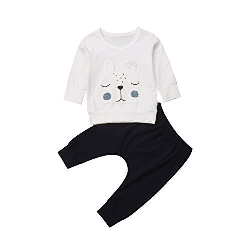 Chloefairy Hausanzug Baby Mädchen Jungen Langarmshirt Bär Warm Sweatshirt Outfit Set Lang Jogginghose Baumwolle Jogginganzug Kleinkinder Pyjama Bekleidungsset für Herbst Winter (Weiß, 70)