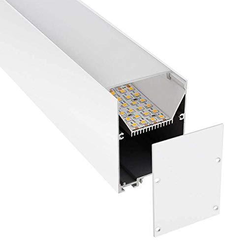 KIT - Perfil aluminio SERK para tiras LED, 2 metros, blanco