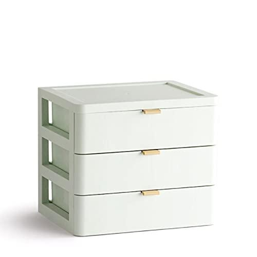JJWC Cajón Maquillaje Organizador Caja de Almacenamiento Caja de Almacenamiento plástico documento soldies Titular cosmético Almacenamiento Organizador Escritorio (Color : Green)