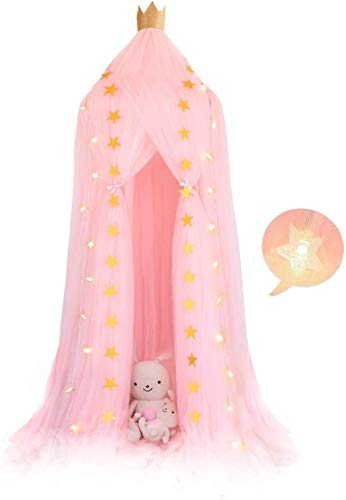 Raelf The Girl - Cortina de cama de gasa con forma de corazón para cama de princesa, mosquitero de gasa de princesa + 6 m 40 LED cálida estrella de hadas + 3 m de luz amarilla para niños