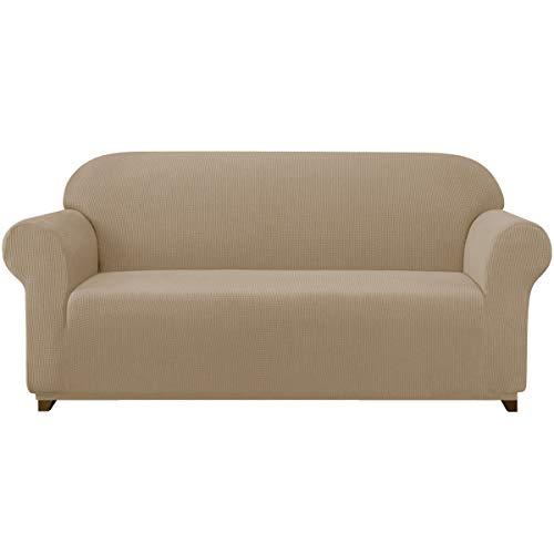 subrtex Spandex Sofabezug Stretch Sofahusse Couchbezug Sesselbezug Elastischer Antirutsch Stretchhusse für Sofa(3 Sitzer,Sand)