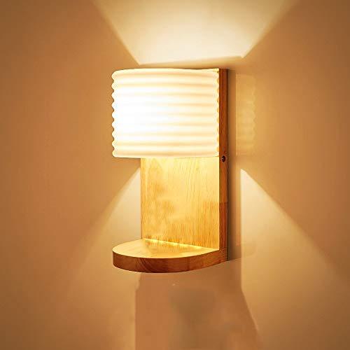 Wandlamp moderne minimalistische wandlamp verlichting praktische houten voet richel LED wall met glazen lampenkap slaapkamer living restaurant room bed wandlamp