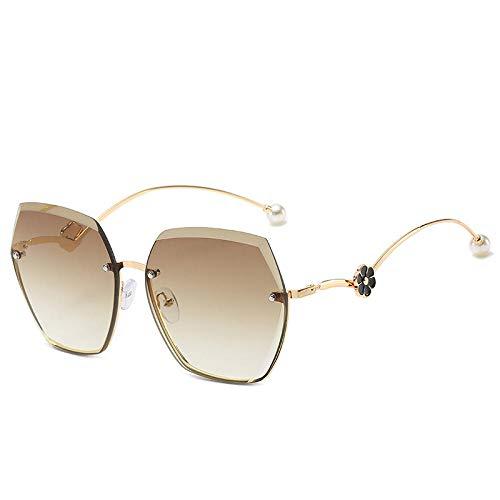 hqpaper Gafas de sol sin marco para mujer con borde cortado, gafas de sol de tendencia camelia de moda, marrón