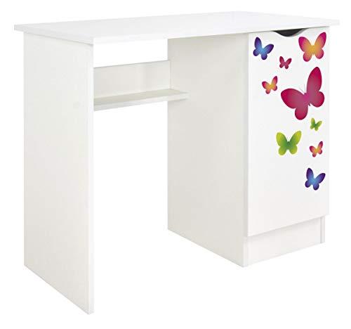 Leomark Białe funkcjonalne biurko - ROMA - z szafką, dla dzieci młodzieży do nauki, idealne pod laptopa, wysokość: 77 cm, nadruk UV, motyw Motyle