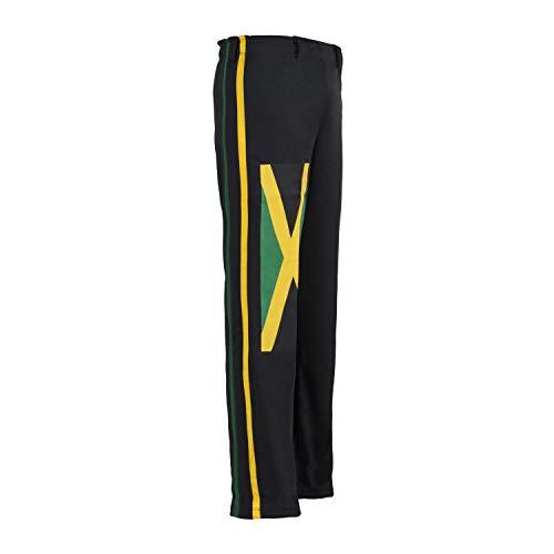 JL Sport Autentico Pantaloni Brasileiana Capoeira Arti Marziali degli Uomini (Giamaicano Reggae Theme) - S