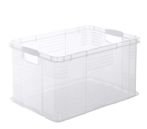 Rotho Agilo Aufbewahrungsbox 55l, Kunststoff (PP) BPA-frei, transparent, A3/55l (59,0 x 39,0 x 31,0 cm)