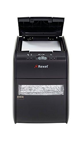 Rexel Auto 90X Destructeur de Documents Automatique Coupe Croisée, 90 Feuilles, Pour Usage Privé ou Administratif, Corbeille Amovible 20L, Noir, Auto+ 90X, 2103080EUA