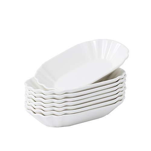 Malacasa, serie regular,8 piezas cuencos de porcelana, incluye 8 tazones grandes de papas fritas plato de salchichas, bandejas para postres, patatas fritas, aperitivos