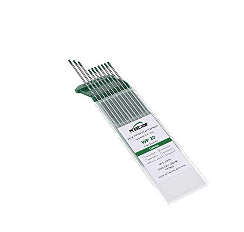 TIG Soldadura electrodos de tungsteno WP Puro (Punta Verde) Contiene 99,5% de tungsteno Ø2,4X175mm 10 electrodos - No radioactive