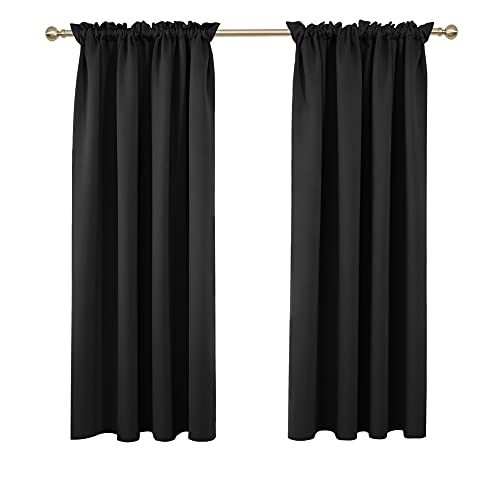 Deconovo Black Blackout Curtains Rod Pocket Curtain Panels Thermal Insulated Curtains for Bedroom 52 W x 63 L Inch 2 Panels