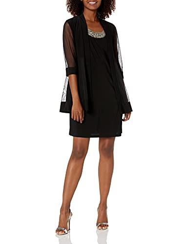 R&M Richards Women's Size 2 Piece Mesh Panel Beaded Neck Jacket Dress Plus, Black, 18W