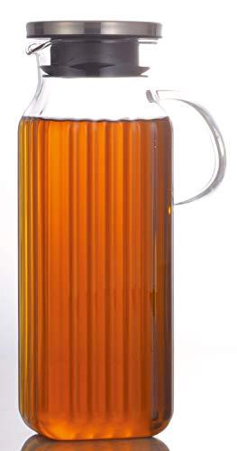 『iwaki(イワキ) 耐熱ガラス ピッチャー 冷水筒 角形 1L スクエアサーバー把手付き 麦茶 お茶 ポット KT296KT-SV』の1枚目の画像