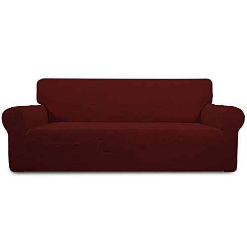 Easy-Going Stretch Sofa Slipcover 1-Piece Couch Sofa Cover Furniture Protector Soft with Elastic Bottom for Kids, Spandex Jacquard Fabric Small Checks(Sofa,Wine)