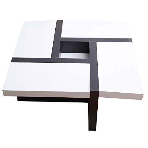 Rebecca Mobili Mesa de Centro Blanca Negra, Muebles para Sala de Estar Modernos- Medidas: 35 x 80 x 80 cm (AxANxF) - Art. RE4010