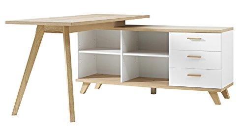 Germania 4058-221 Schreibtisch mit integriertem Sideboard im skandinavischen Design GW-Oslo in Weiß/Absetzungen Sanremo-Eiche-Nachbildung, 144 x 75 x 145 cm (BxHxT)