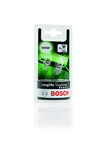 Lámparas Bosch para vehículos Longlife Daytime W5W 12V 5W W2 1x9, 5d (Lámpara x2)