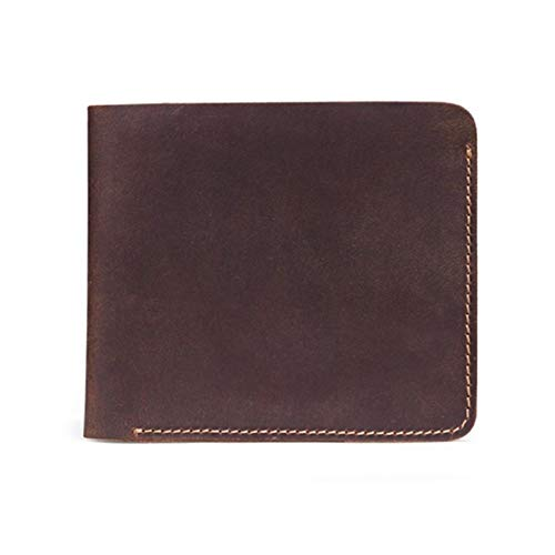 ZNQPLF Cuero Auténtico Titular De La Tarjeta De Crédito del Negocio Identificación Plegable Carpeta De Los Hombres De La Caja del Monedero Regalo (Color : Brown)