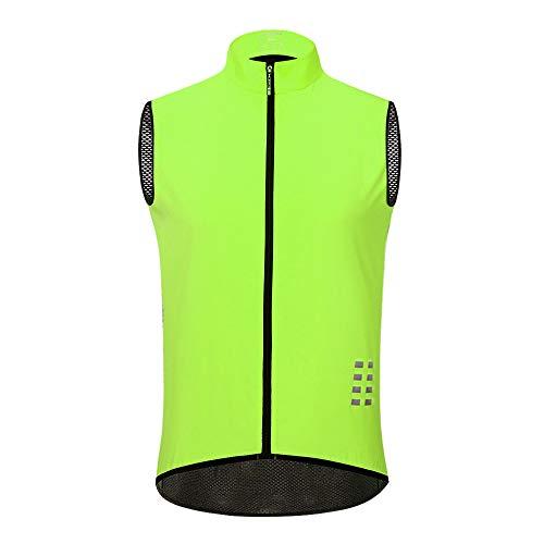 WOSAWE Chaleco de Ciclismo, Hombres Transpirable Sin Mangas Chaqueta de MTB Cortavientos Ropa de Bicicleta (Verde L)