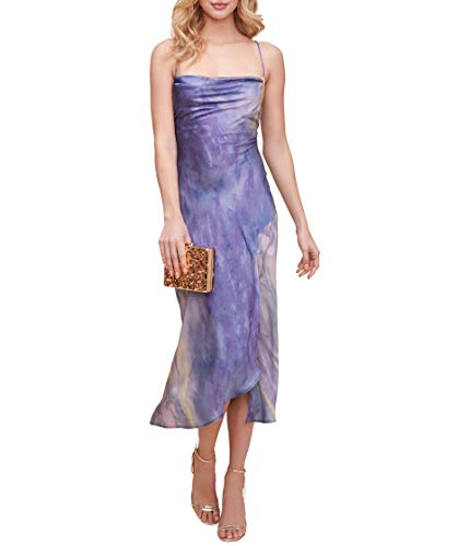 ASTR the label Women's Gaia Sleeveless Midi Slip Dress, Blue Multi TIE DYE, XS