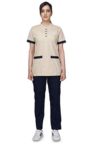 UNIFORM CRAFT Women's Polyester and Cotton Twill Support Staff Dress (Beige and Navy Blue)