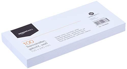 Amazon Basics – Trennstreifen, aus recyceltem Manilapapier, vollfarbig, gelocht, 10,5 x 24cm, 160g/m², 100Stück, Weiß